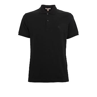 Burberry Black Brit Men Check Placket Pique Polo -- BBO952432