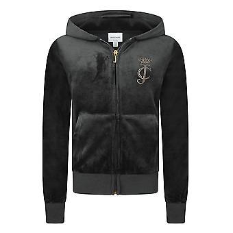 Juicy Couture Kids Girls Fashion Full Zip Hoodie Hoodie Hoody Jacket Noir