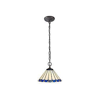 Luminosa Belysning - 2 Lys Downlighter Loft Vedhæng E27 Med 30cm Tiffany Shade, Blå, Crystal, Aged Antik Messing
