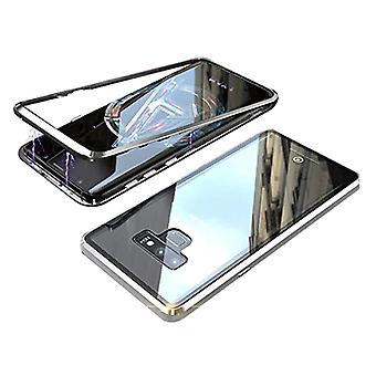 الاشياء المعتمدة® سامسونج غالاكسي S10 المغناطيسي 360 ° حالة مع الزجاج المقزز - كامل غطاء الجسم القضية + الشاشة حامي الفضة