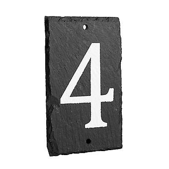 Natural Solid Slate House Numbers (0-9) Including Fixings & Caps - Number 4