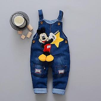Cartoon Baby Clothes, Denim Pants Elastic Waist Casual Printed- Trousers's