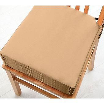 Beige 4pk Seat Pad Cushions with Secure Fastening Dining Kitchen Chairs Soft Cotton Twill