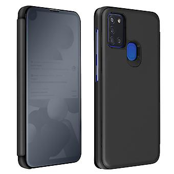 Back cover for Samsung A21s Translucent flap Mirror with Video support Black