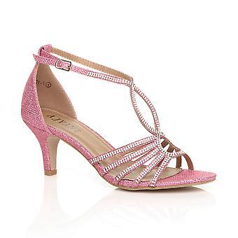 Ajvani naisten puolivälissä kantapää strappy diamante glitter morsiamen wedding ilta t-bar Sandaalit kengät