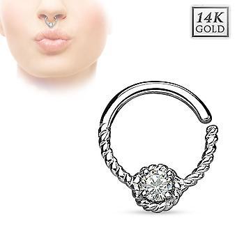 14K septum ring solid guld cz flettet piercing daith næse helix læbe smykker 16g