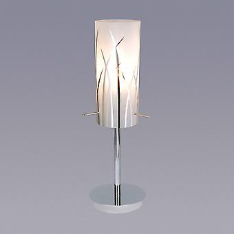 Lámpara de mesa moderna Chrome 1 Luz con sombra mate, E14