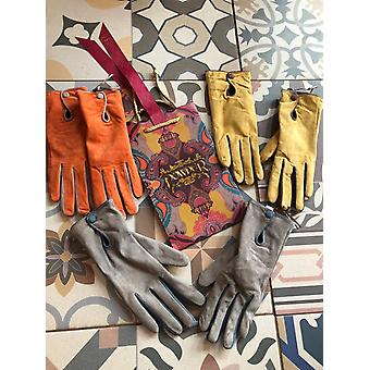 Powder Design Gabriella Two Tone Suede Colourblock Gloves Orange Grey Mustard