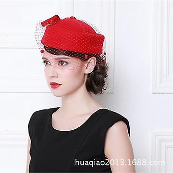 Vintage Französisch Wolle Baskenmütze Winter Filz Hut mit Schleife flache Hüte