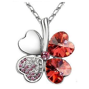 Rose Red - Swarovski Elements Crystal Four Leaf Clover Pendant Necklace