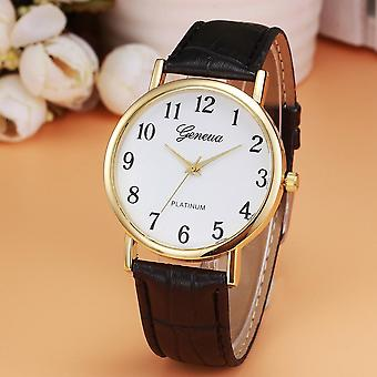 Women Fashion Faux Leather Analog Quartz Wrist Watch Bracelet Ladies Clock