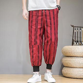 Striped Harem Trousers Pants, Large Size Loose Men's Casual Trousers