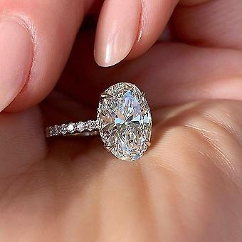 Oval Finger Ring Band Abbagliante brillante Cz Stone Setting Wedding Anniversary