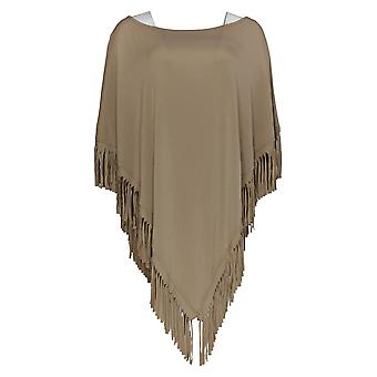 Mulheres com Controle Mulheres'Top Knit Poncho W/ Fringe Detalhe Bege A300740