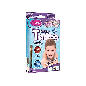 Glitter tattoo kit for boys with 15 amazing stencils - hypoallergenic and cruelty free - 8-18 lastin