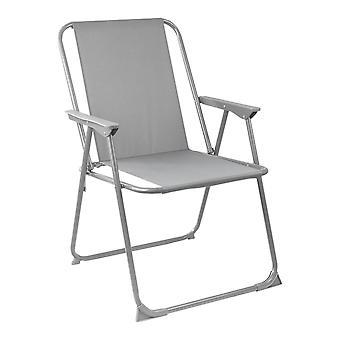 Folding Metal Beach Garden Camping Armchair - Grey - Pack of 2