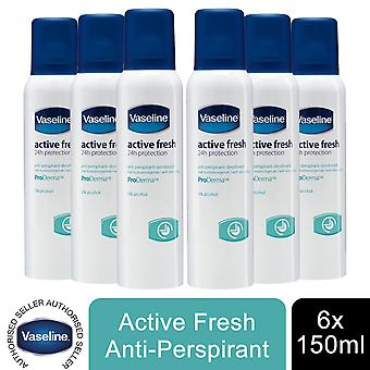 6x of 190ml Vaseline ProDerma Antiperspirant Deodorant, Active Fresh Skin Care