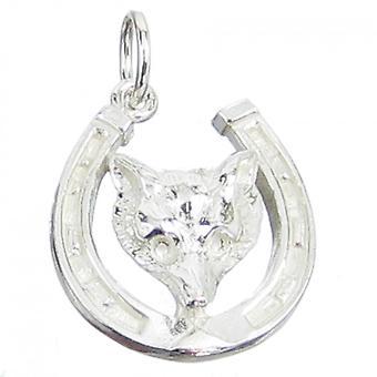 Foxhead In Horseshoe Sterling Silver Charm .925 X 1 Fox Head Horse Shoe - 110