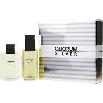 Antonio Puig Quorum Silver Gift Set 100ml EDT + 100ml Aftershave