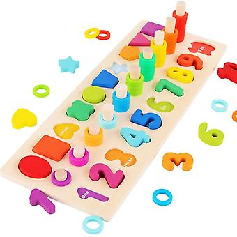 Preschool Wooden Montessori Geometric Shape Cognition Match Educational