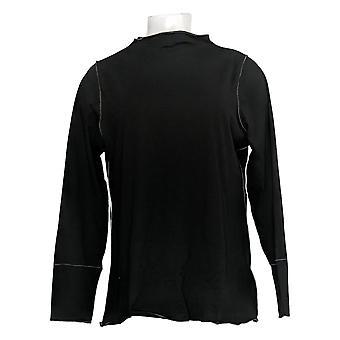 LOGO by Lori Goldstein Women's Top Long Sleeve Knit Black