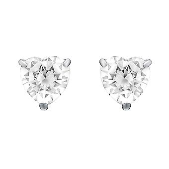 Jewelco London Ladies Rhodium Plated Sterling Silver Heart Cubic Zirconia Love Heart Solitaire Stud Boucles d'oreilles 5mm