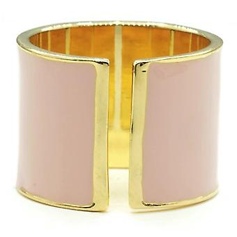 15mm Split Shank Cigar Band Ring In Pink Epoxy And Gold Tone