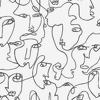 Abstract Faces Black/White Wallpaper