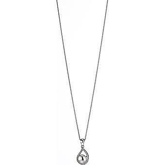 Collar de perlas Adriana con colgante zirconia blanca de agua dulce rodio plateado 50 cm S15