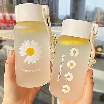 500ml Small Daisy Transparent Plastic Water Bottles BPA Free Creative Frosted Water Bottle With Portable Rope Travel Tea Cup