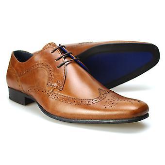 Couro Brogue sapatos fita vermelha Louth Tan masculino