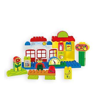 Mochtoys 10810 bâtiment blocs magasin avec figurine, nourriture, compteur, échelle de 1 an