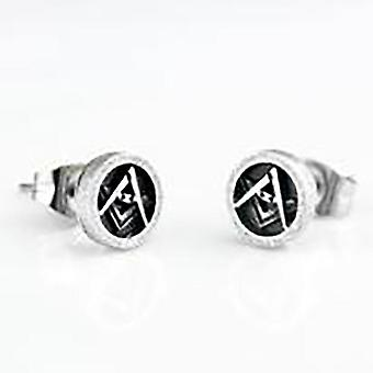 Boucles d'oreilles maçonniques de goujon 7mm rondes