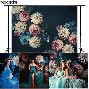 Dark Blue Vintage Photographic Backdrop For Photo Studio Peony Flower Adult