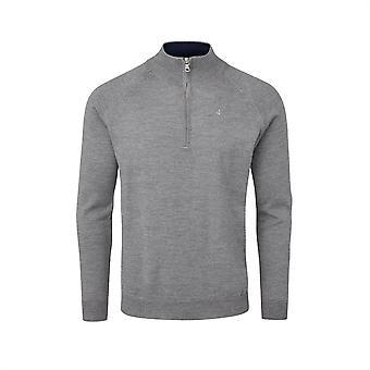 Oscar Jacobson Mens Pin Merino Zip Neck Sweater Jumper Pullover Top