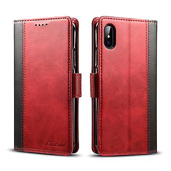 Wallet étui en cuir fente pour carte pour iphone7/8plus rouge pc89