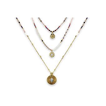 Boho betty boreas pink & gold 3 layering necklace set