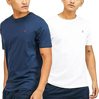 Farah Mens Dornoch 2 Pack Casual Coton Crew Neck Lounge T-Shirt Top Tee - Multi