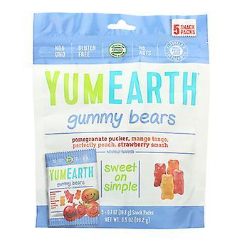 Yum Earth Gummy Bear Snkpk, Case of 12 X 3.5 Oz