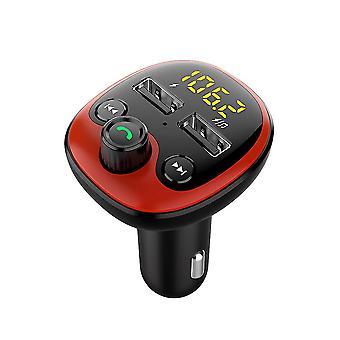 Bt21 سيارة مزدوج Usb Fm الارسال خالية يدويا سيارة كيت Mp3 لاعب دعم Tf U القرص LCD العرض مع محول شاحن USB (أحمر)