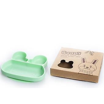 Rabbit green children's silicone dinner plate, food divider bowl az14834