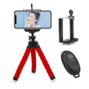 Phone Tripod,version Mini Cell Phone Tripod With Bluetooth Remote Control(Red)