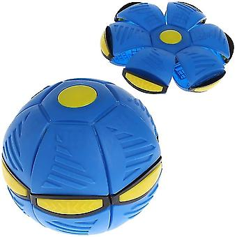 Luminous Ufo Saucer Ball Deformed Flying Flat Throw Disc Ball Frisbee Outdoor Sports Game Toy(Blue)
