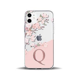 Convient pour iphone11pro créatif transparent fleur de pêcher 26 lettres anglaises 78p étui de téléphone portable iphone12 housse de protection awo74470