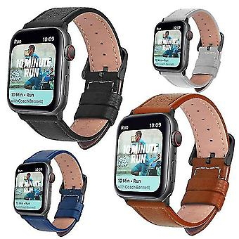 Correa de reloj de cuero suave con hebilla para Apple Watch Series 42mm 44mm