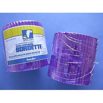 Purple 7.5m Metallic Corrugated Card Bordette Classroom Border Display Rolls