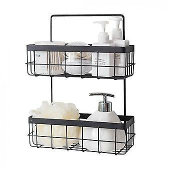 Kitchen And Bathroom Free Perforated Storage Basket(Black)