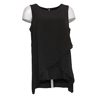 Susan Graver Top Líquido de mujer punto sin mangas con superposición tejida negro A374106