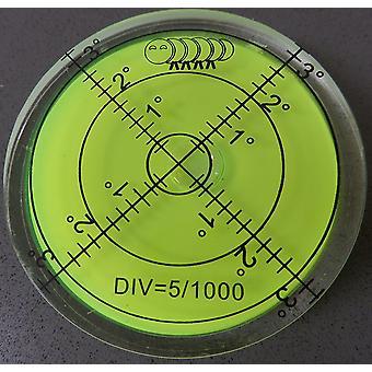 Acryl grote spirit bubble niveau (groene vloeistof) 60mm diameter, graden - acryl behuizing, oppervlakte niveau, bulls eye bullseye flacon rond -perfect voor statief en andere toepassingen