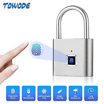 Door lock smart fingerprint usb rechargeable padlock quick unlock zinc alloy metal self developing chip